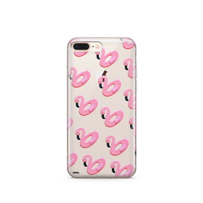 Flamingo Floaties - Clear Case Cover - Milkyway Cases -  iPhone - Samsung - Clear Cut Silicone Phone Case Cover
