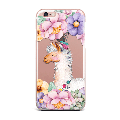 Floral Llama iPhone & Samsung Clear Phone Case Cover