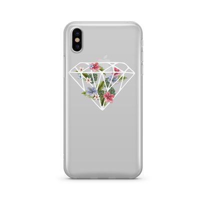 Floral Diamond Clear TPU Case - Clear Cut Silicone iPhone Cover - Milkyway Cases