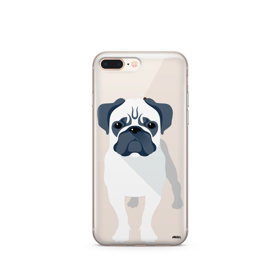 Full Pug - Clear TPU Case Cover - Milkyway Cases -  iPhone - Samsung - Clear Cut Silicone Phone Case Cover