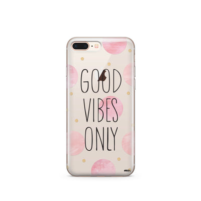 Good Vibes Only Polka Dot - Clear TPU Case Cover - Milkyway Cases -  iPhone - Samsung - Clear Cut Silicone Phone Case Cover