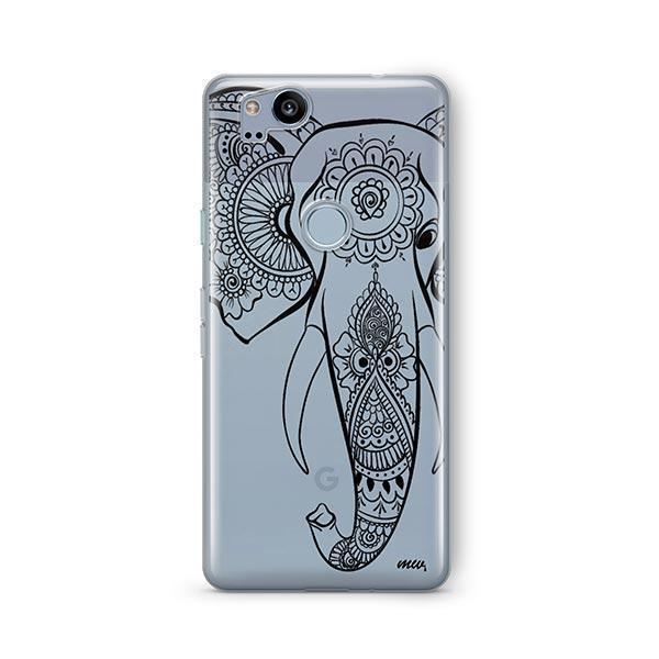 Black Tribal Elephant - Google Pixel 2 Case Clear