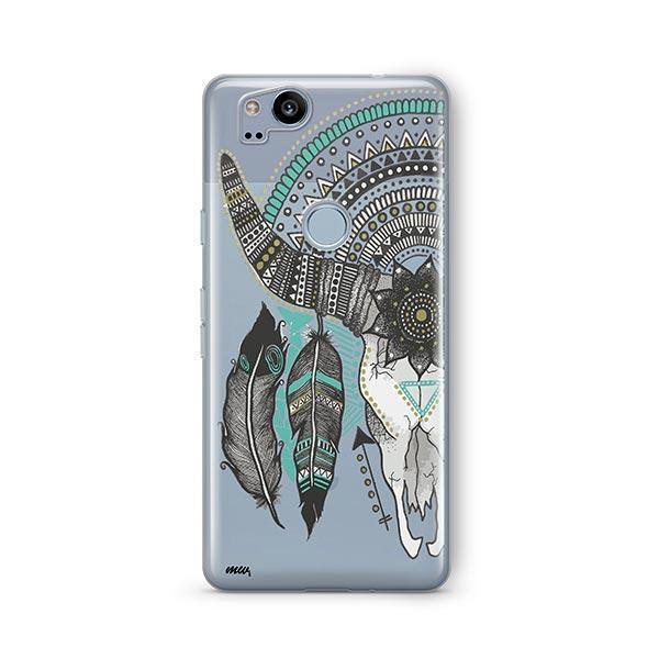 Feathered Mandala Animal Skull Google Pixel 2 Case Clear