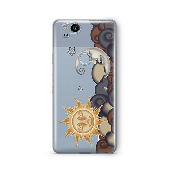 Henna Sun and Moon Google Pixel 2 Case Clear