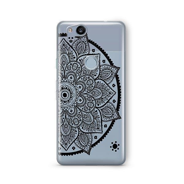 Black Henna Lotus Mandala Google Pixel 2 Case Clear