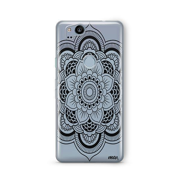 Black Henna Full Mandala Google Pixel 2 Case Clear