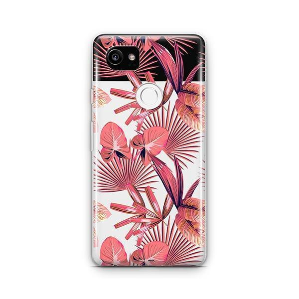 Pink Palm Leaves Google Pixel 2 XL Case Clear