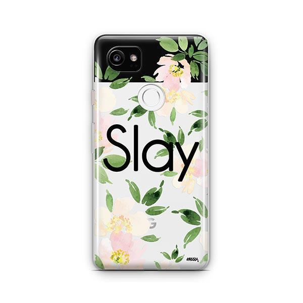 Slay with Flowers Google Pixel 2 XL Case Clear