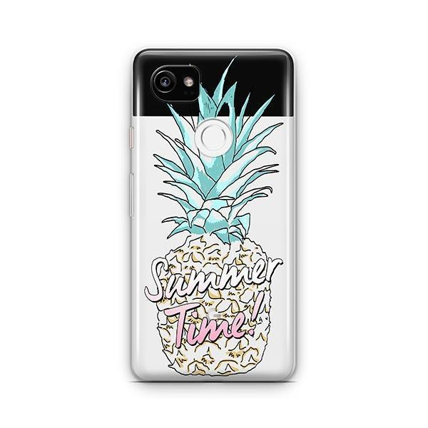 Teal Summertime Pineapple Google Pixel 2 XL Case Clear