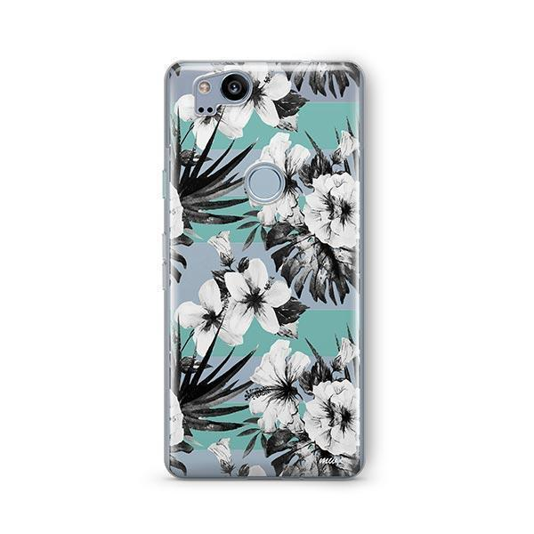 Black and White Floral Google Pixel 2 Case Clear