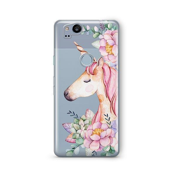 Floral Unicorn Google Pixel 2 Case Clear