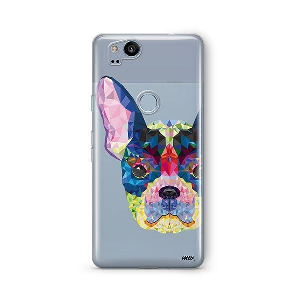 Geometric Frenchie - Google Pixel 2 Clear Case