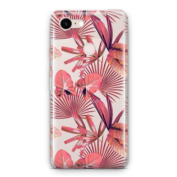 Pink Palm Leaves Google Pixel 3 XL Clear Case