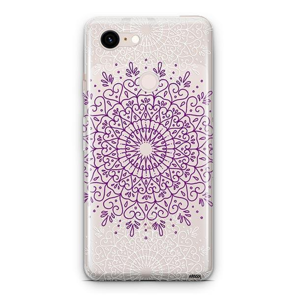 Purple Mandala Google Pixel 3 XL Clear Case