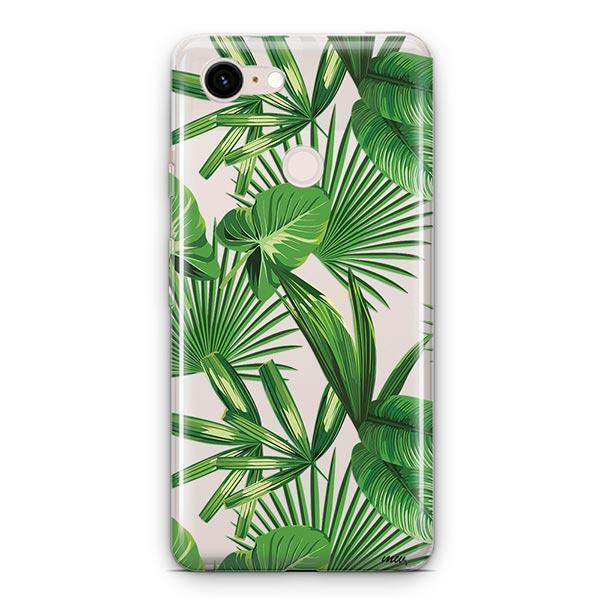 Tropical Palm Leaves Google Pixel 3 XL Clear Case