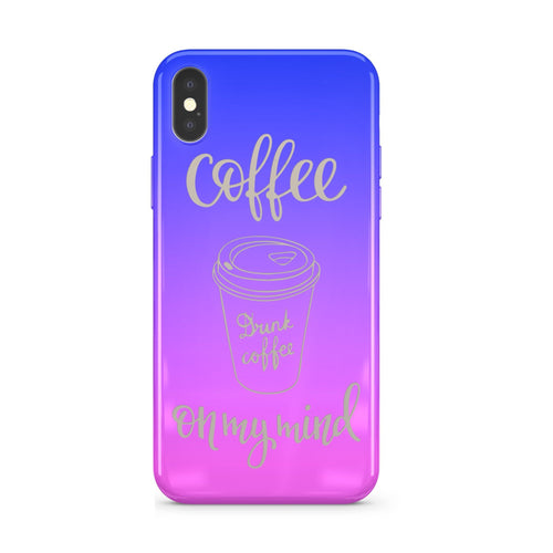 Gradient Chrome Shiny Coffee On My Mind iPhone Case