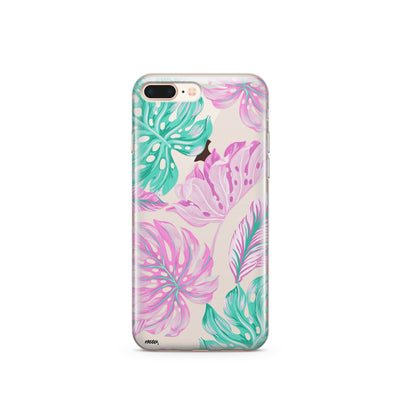 Hawaiian Garden - Clear TPU Case Cover Milkyway iPhone Samsung Clear Cute Silicone 8 Plus 7 X Cover