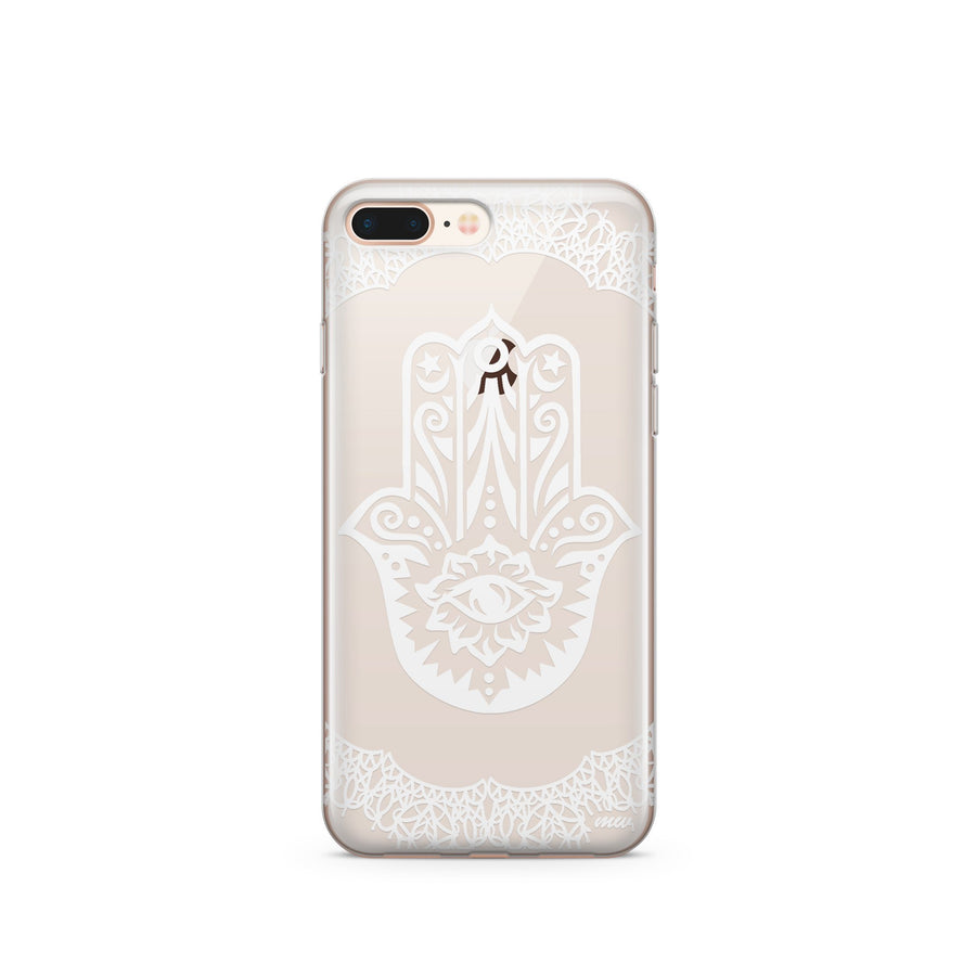 Henna Hamsa Hand of Fatima - Clear TPU Case Cover Milkyway iPhone Samsung Clear Cute Silicone 8 Plus 7 X Cover