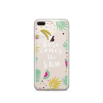 Here Comes The Sun - Clear Case Cover Milkyway iPhone Samsung Clear Cute Silicone 8 Plus 7 X Cover