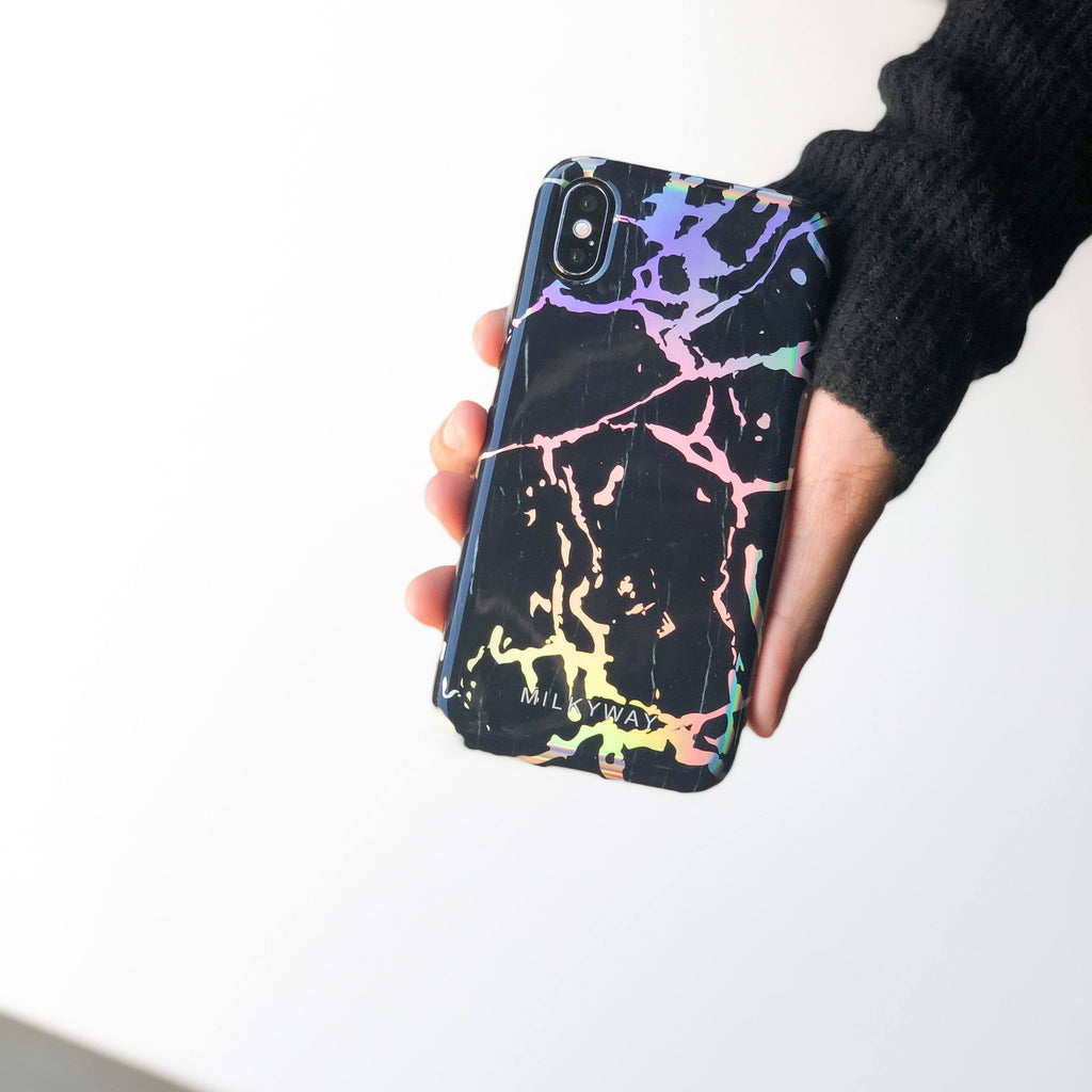 Holographic iPhone Case BLACK MARBLE