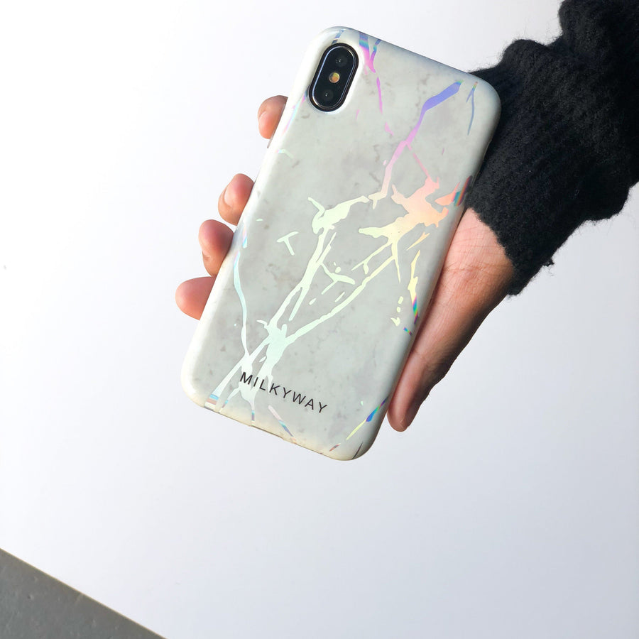 Holographic iPhone Case WHITE MARBLE