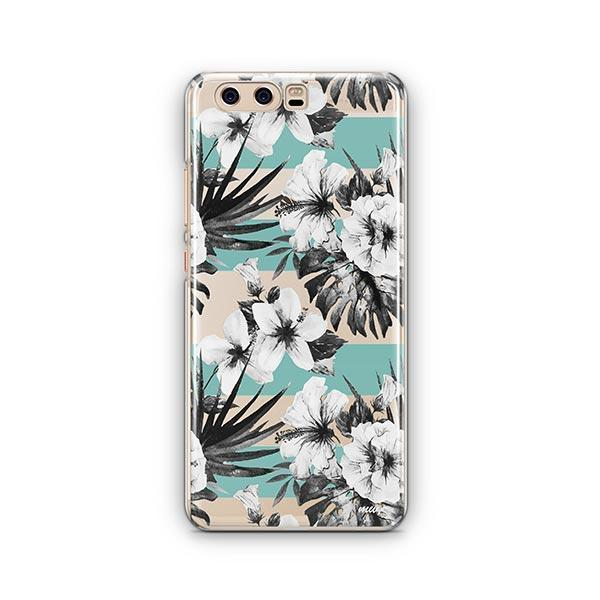 Black and White Floral Huawei P10 Case Clear