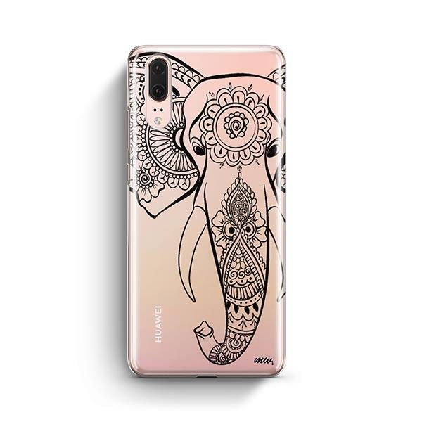 Black Tribal Elephant - Huawei P20 Case Clear
