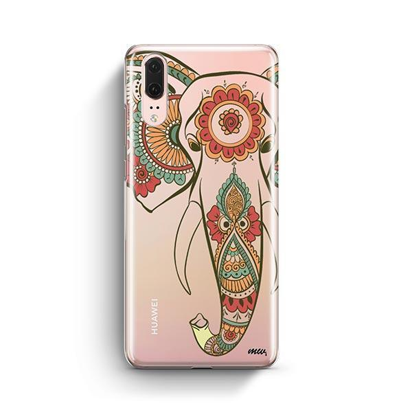 Colored Tribal Elephant - Huawei P20 Case Clear