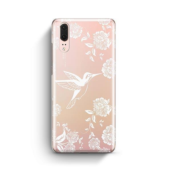 White Vintage Hummingbird - Huawei P20 Case Clear