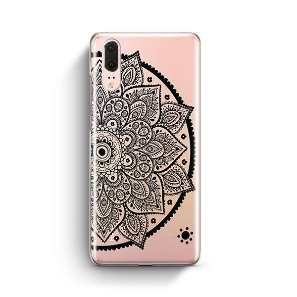 Black Henna Lotus Mandala Huawei P20 Case Clear