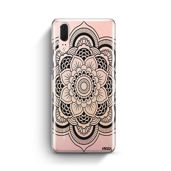 Black Henna Full Mandala Huawei P20 Case Clear