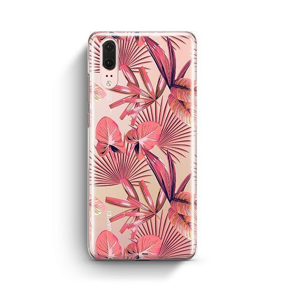 Pink Palm Leaves Huawei P20 Case Clear