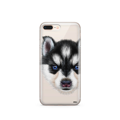 Husky Puppy - Clear Case Cover - Milkyway Cases -  iPhone - Samsung - Clear Cut Silicone Phone Case Cover