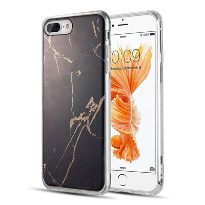 iPhone MARBLE SPARKLE - BLACK + GOLD Milkyway iPhone Samsung Clear Cute Silicone 8 Plus 7 X Cover
