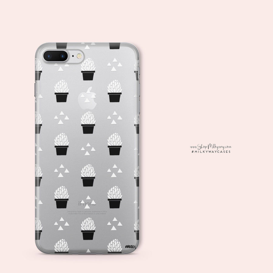 Monochrome Succulent - Clear Case Cover