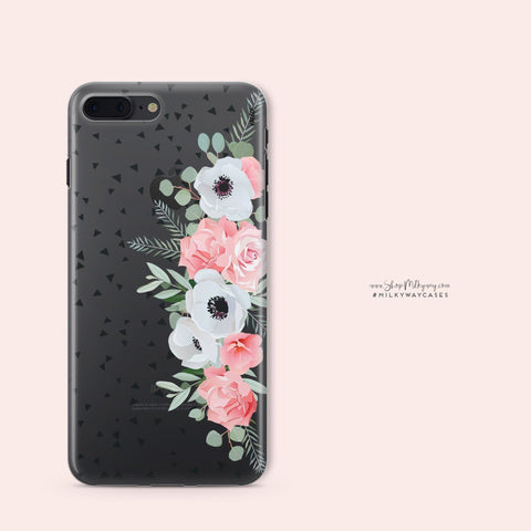 'Anemone Rose' - Clear TPU Case Cover