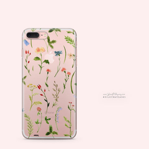 'Wildflower' - Clear TPU Case Cover