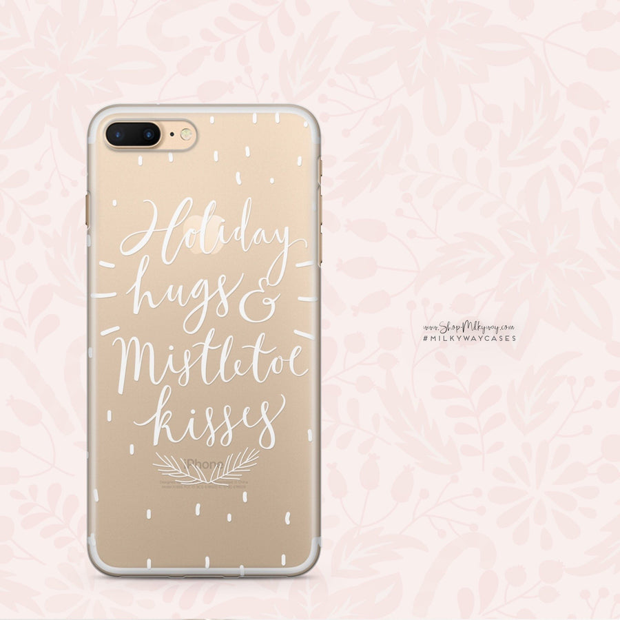 Holiday Hugs And Mistletoe Kisses - Clear Case Cover Milkyway iPhone Samsung Clear Cute Silicone 8 Plus 7 X Cover