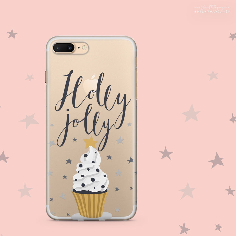 Holly Jolly - Clear Case Cover - Milkyway Cases -  iPhone - Samsung - Clear Cut Silicone Phone Case Cover