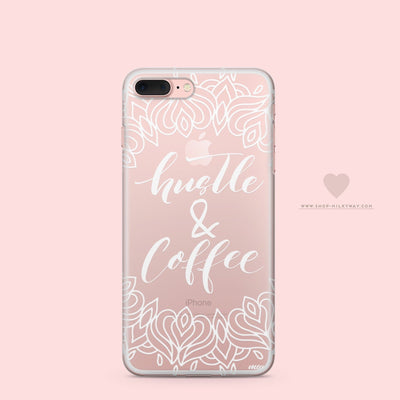 Hustle and Coffee - Clear Case Cover Milkyway iPhone Samsung Clear Cute Silicone 8 Plus 7 X Cover