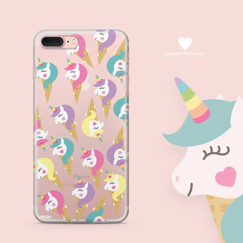 'Unicorn Rainbow Horns' - Clear TPU Case Cover