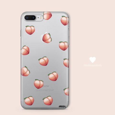 'Peach Emoji' - Clear TPU Case Cover