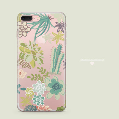 Succulent Garden - Clear Case Cover - Milkyway Cases -  iPhone - Samsung - Clear Cut Silicone Phone Case Cover