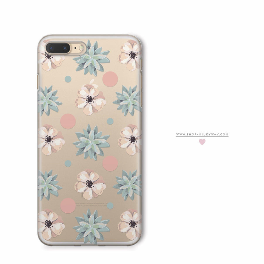 Succulent Polka  - Clear Case Cover