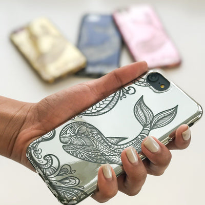 Chrome Shiny TPU Case - Whale - Milkyway Cases -  iPhone - Samsung - Clear Cut Silicone Phone Case Cover