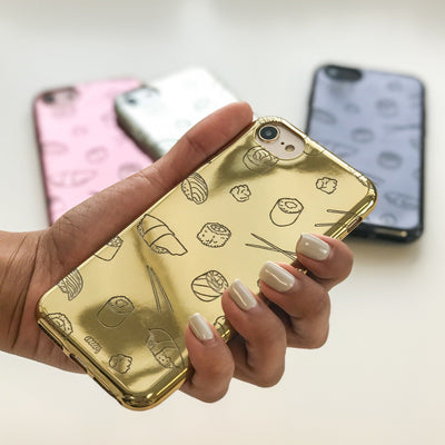 Chrome Shiny TPU Case - Sushi Monster - Milkyway Cases -  iPhone - Samsung - Clear Cut Silicone Phone Case Cover
