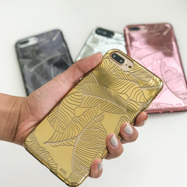 Chrome Shiny TPU Case - Banana Leaves - Milkyway Cases -  iPhone - Samsung - Clear Cut Silicone Phone Case Cover