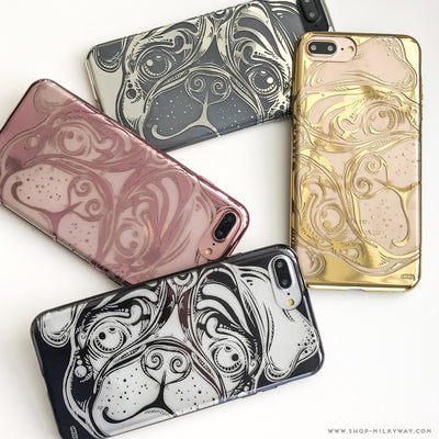 Chrome Shiny TPU Case - Pug - Milkyway Cases -  iPhone - Samsung - Clear Cut Silicone Phone Case Cover