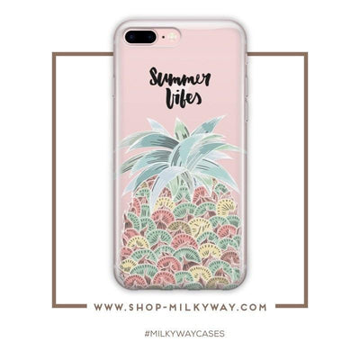 Summer Pineapple Vibes - Clear Case Cover - Milkyway Cases -  iPhone - Samsung - Clear Cut Silicone Phone Case Cover