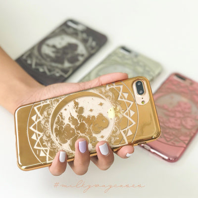 Chrome Shiny TPU Case - Crescent Dream - Milkyway Cases -  iPhone - Samsung - Clear Cut Silicone Phone Case Cover